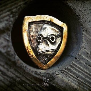 Plague Doctor 2way necklace / hair band - brass and silver
