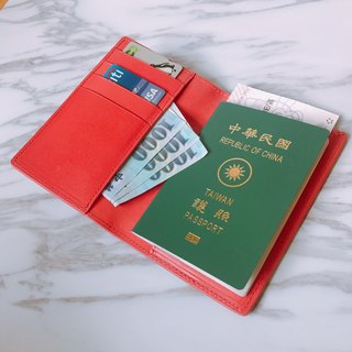 "[La Fede] ""Mother's Day limited color"" vegetable tanning-AQUA series - passport clip coral red"