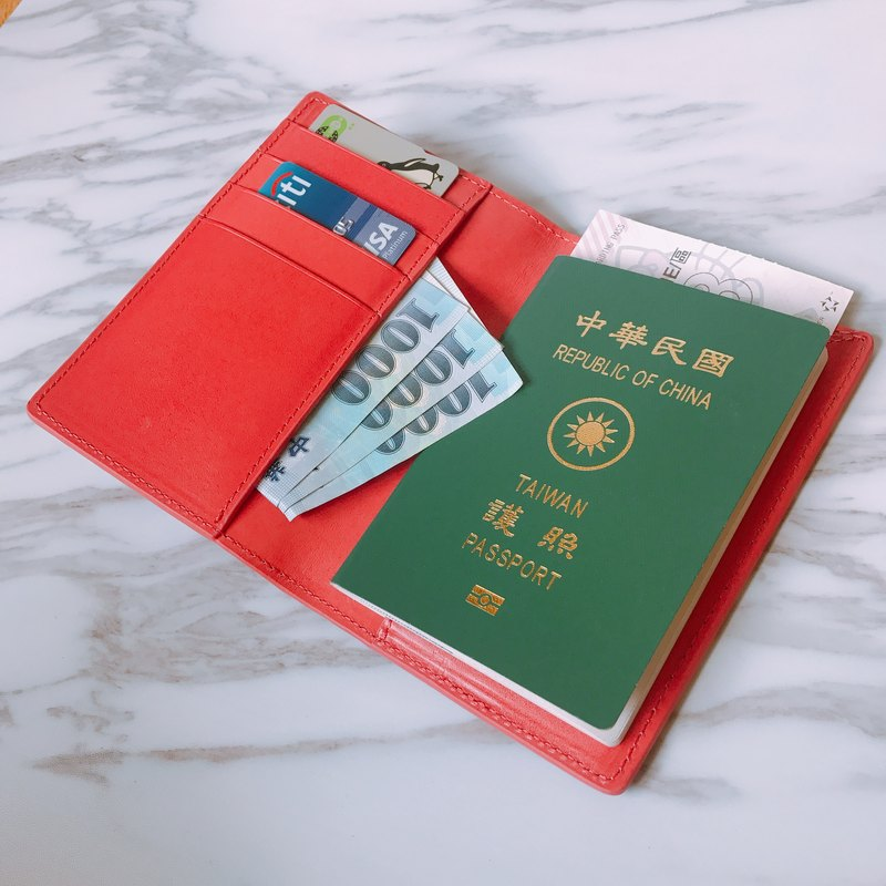 [La Fede] vegetable tanned-AQUA series - passport holder coral red