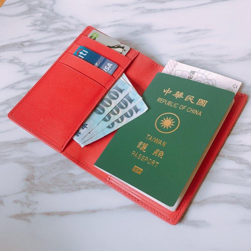 【La Fede】植鞣-RFID防盜護照夾 珊瑚紅