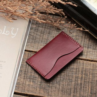 Retro Burgundy red dip dyed yak leather manual ticket holder