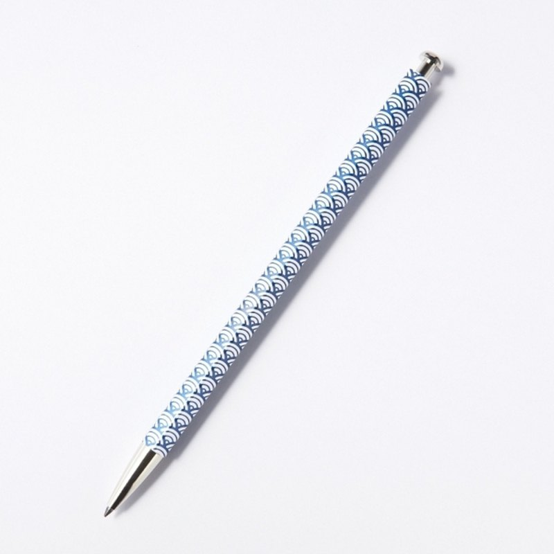 Adult pencil and flowing blue sea wave blue