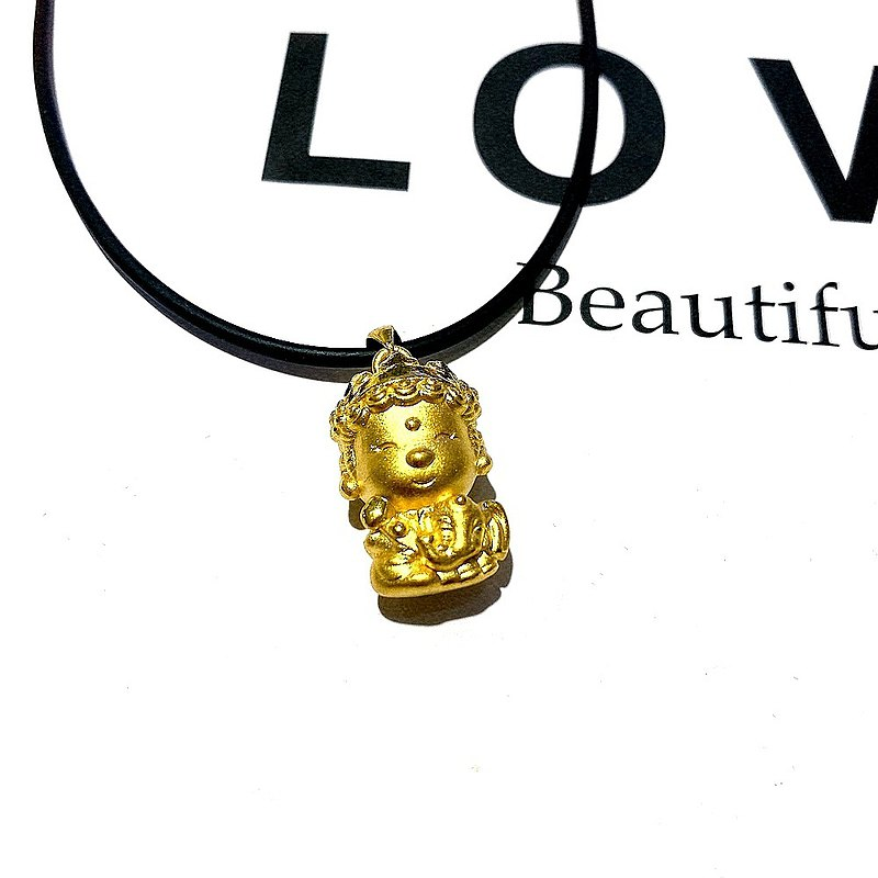 Eli Jewelry Cute and Playful Baby Buddha Gold Head Pendant Pendant with Gold Jewelry Guarantee Card