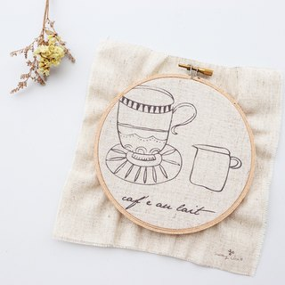 A cup of coffee illustration embroidery material package