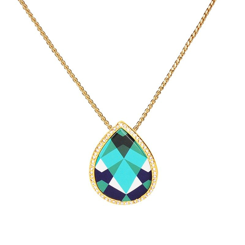 Dew eternal love printed enamel necklace (gold) -39,206,151,140