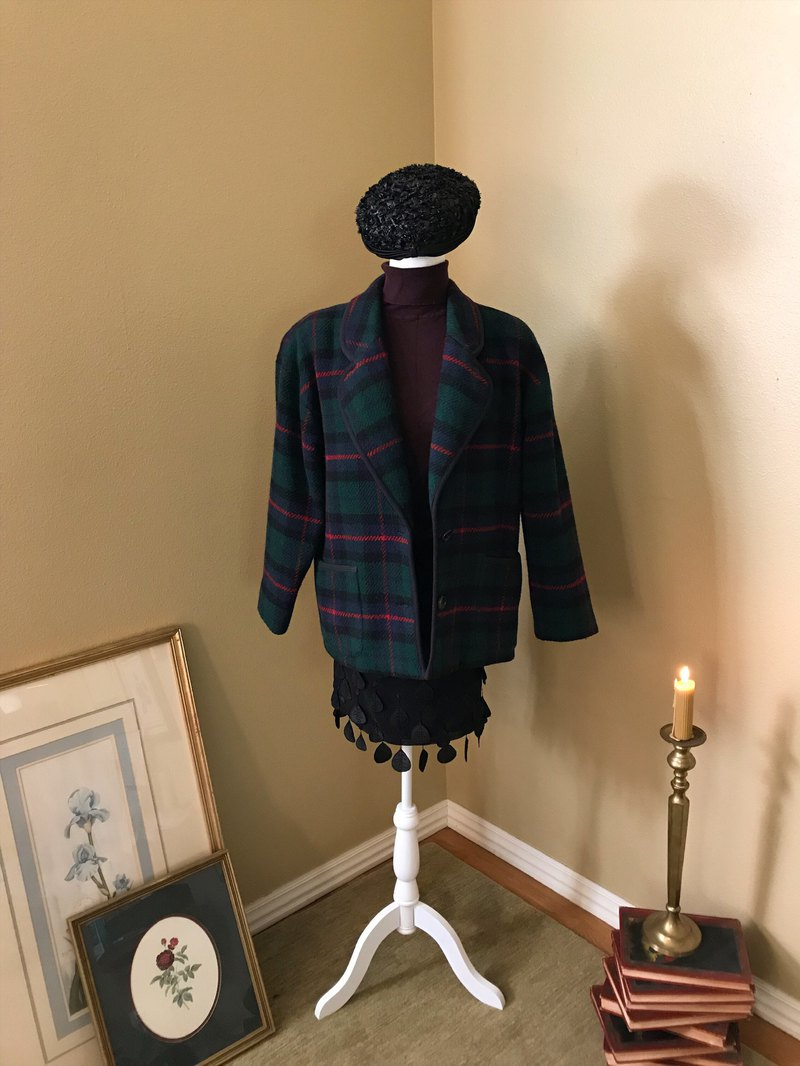 Talbots green coat / black onion hat