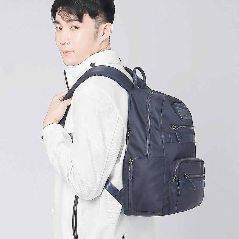 【男友禮物/免運】防潑水尼龍拉鍊筆電男後背包│深藍