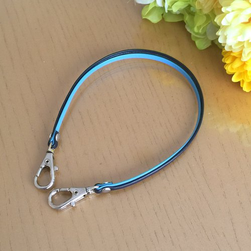 "Two-tone color Leather strap (Light Blue and Navy) ""Clasps : Silver"""