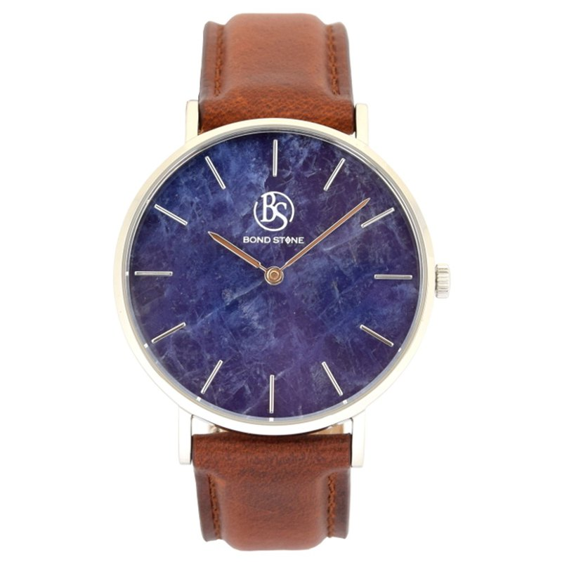 BOND STONE SHINE LAPIS LAZULI Brown leather belt 36mm Stone Watch