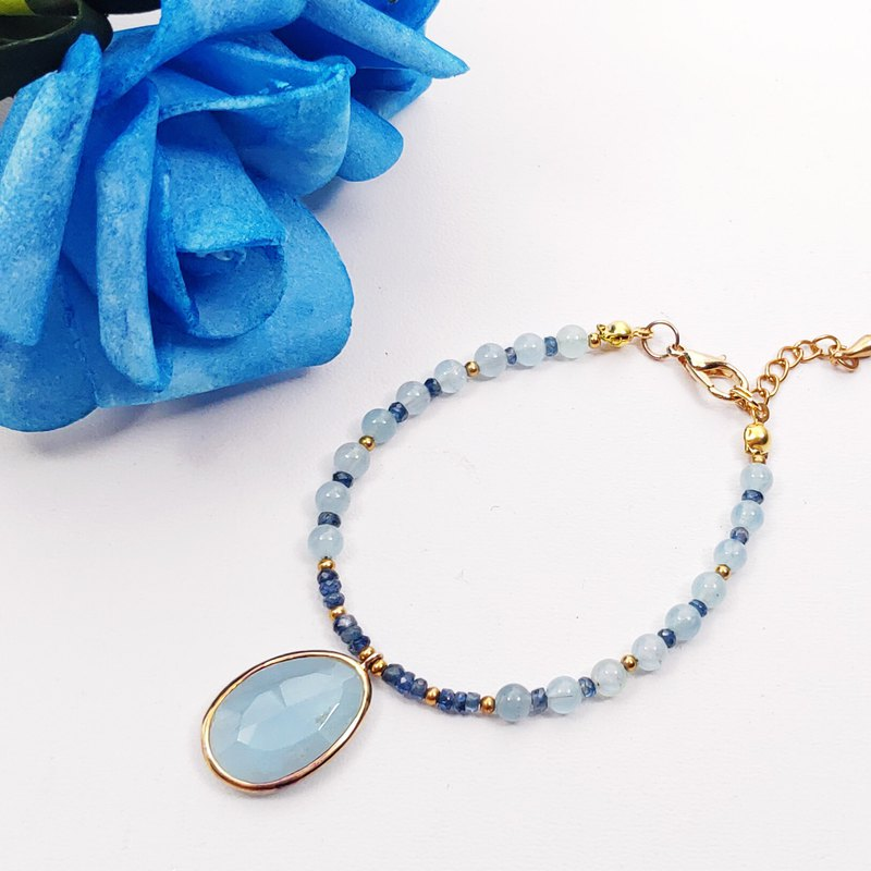 Natural Aquamarine Bluestone 18K Gold Size Adjustable Tail Chain Bracelet Customized Only This One