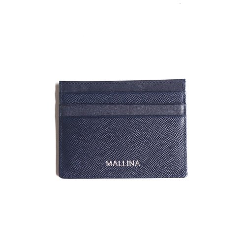 Personalised card holder - Blue saffiano leather