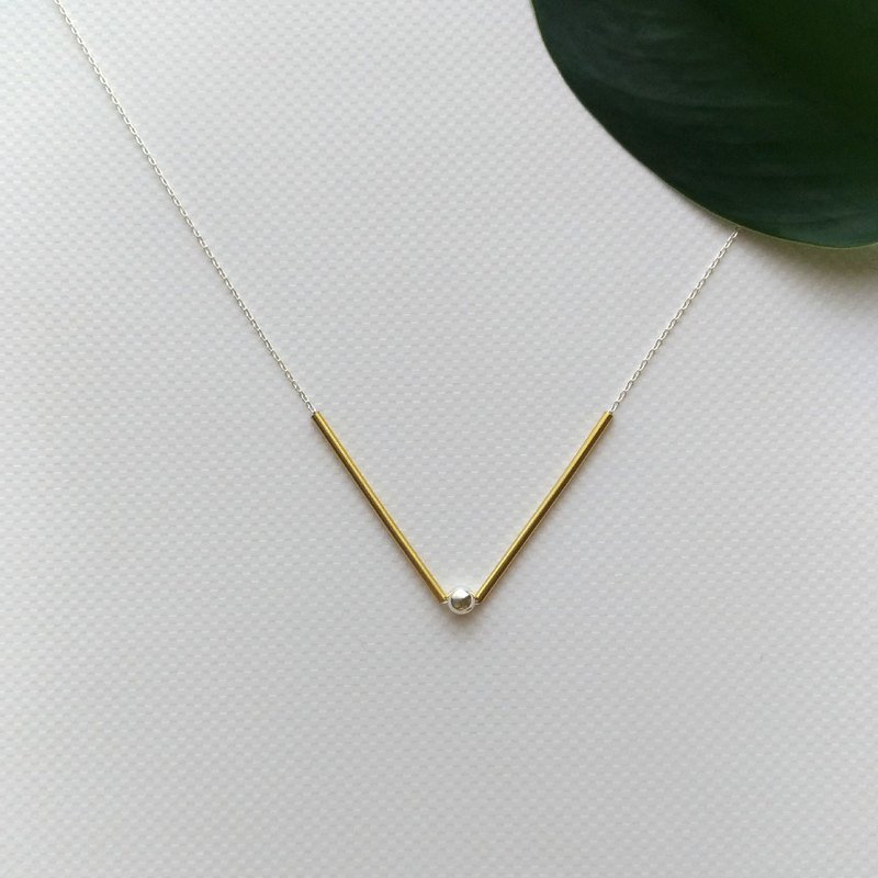 N029-brass sterling silver necklace