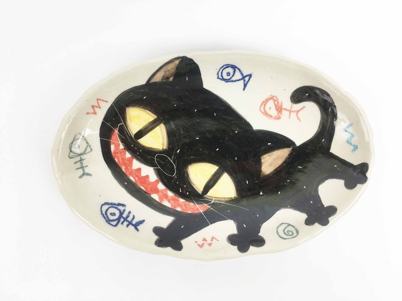 Nice Little Clay Four-legged Elliptical Medium Plate_Happy Black Cat 0302-05
