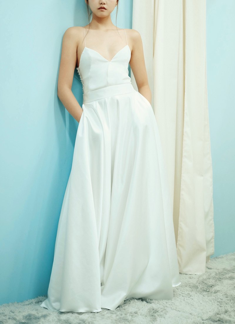 Love Philosophy Bridal simple two-piece wedding dress - sling low-cut tops and round table dress