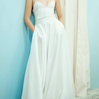 Love Philosophy Bridal Simple Two-piece Wedding Dress - Halter Low-cut Top and Round Dress