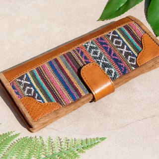 Leather wallet / woven stitching leather long clip / long wallet / purse / woven wallet - Moroccan rainbow