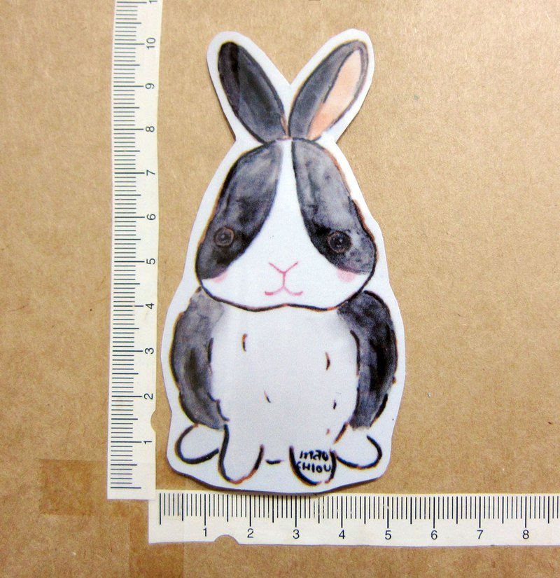 Hand-painted illustration style completely waterproof sticker rabbit dodge rabbit black rabbit