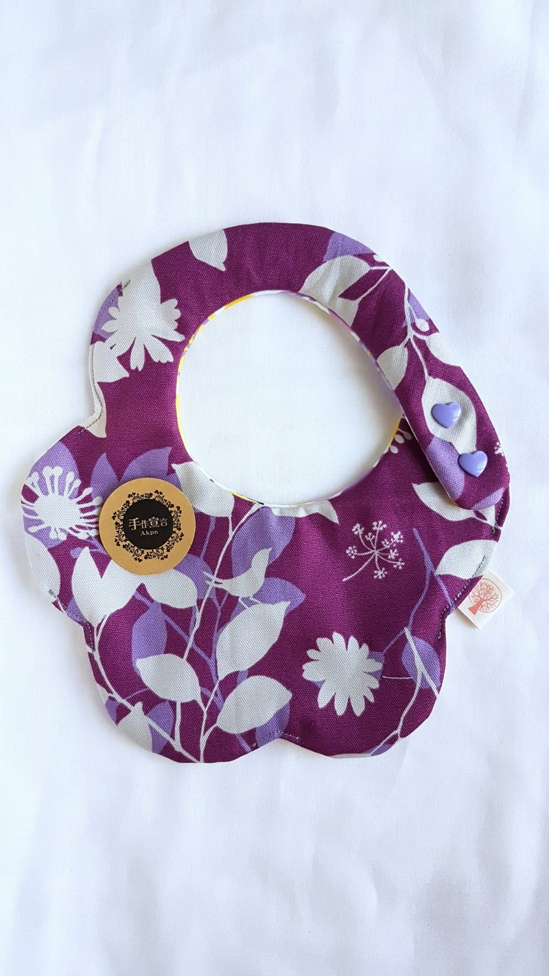 (Flower - Oxford Cotton) Double Sided Bib. Saliva Towel