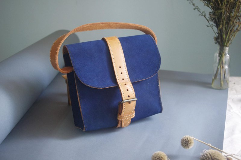 European antique vintage bag - England suede bright color square antique package