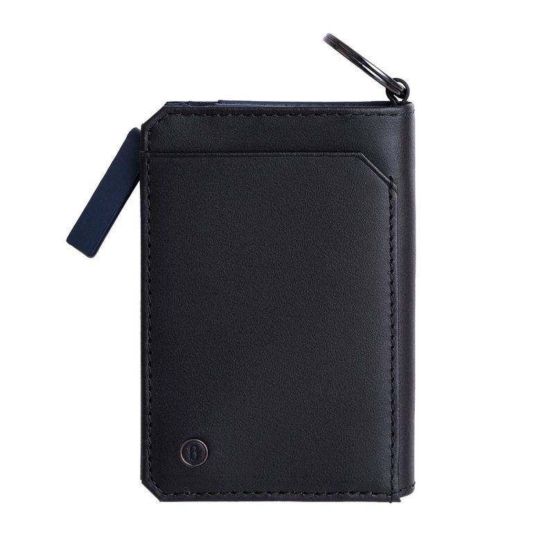 Fusion series leather double card two-color key coin purse - black and blue