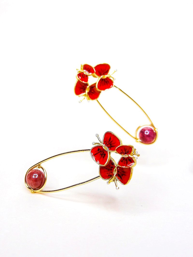 Coral sunset red group of butterflies and multicolor red tourmaline pin earrings order making / single