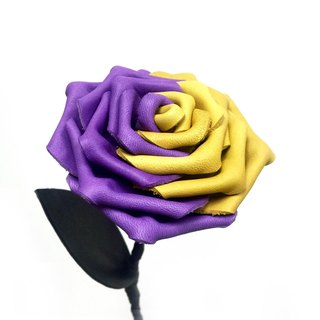 """Contradiction"" series Leather Rose - Purple / Yellow"