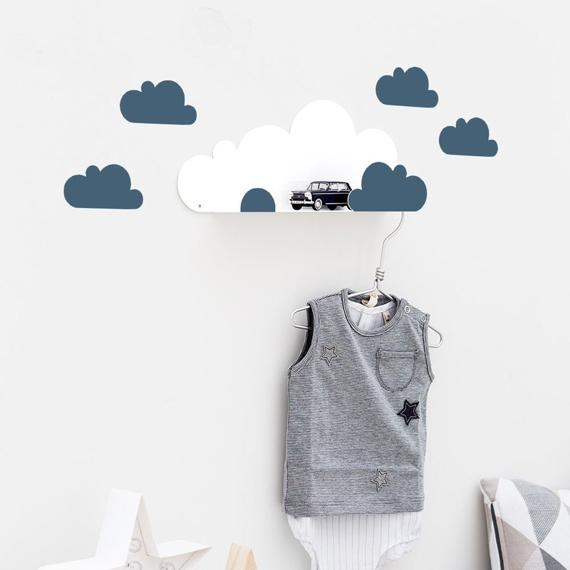 Clouds modeling shelf + wall stickers (dark blue)