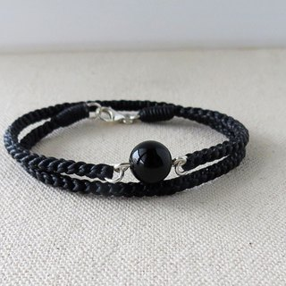 Sterling Silver*Lucky Pray Black Beryllium Silk Wax Bracelet*Eight Strand Double Ring ~ Anti-villain [With gift box]