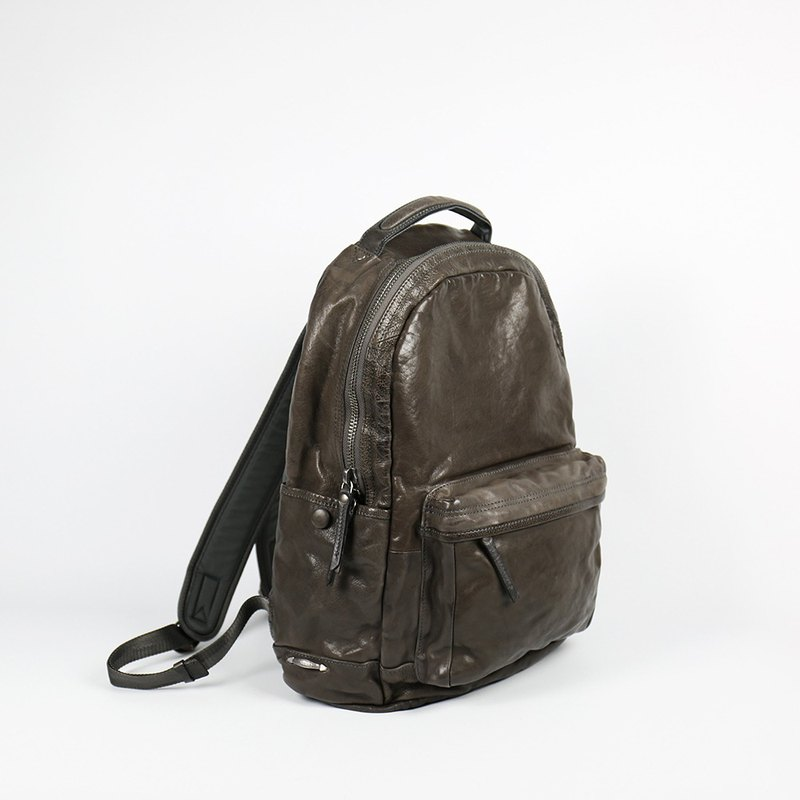 [HANDOS] MaiTai Textured Washed Goatskin Backpack - Coffee Grey