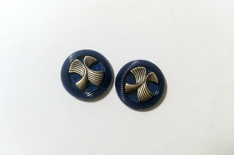 Vintage Butterfly Wings Deep Sea Blue Earrings / Clip / Needle