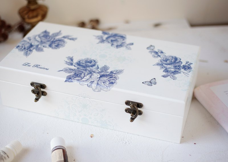 Blue and white porcelain style wooden oil essential oil box 10ml 50 grid essential oil wooden box