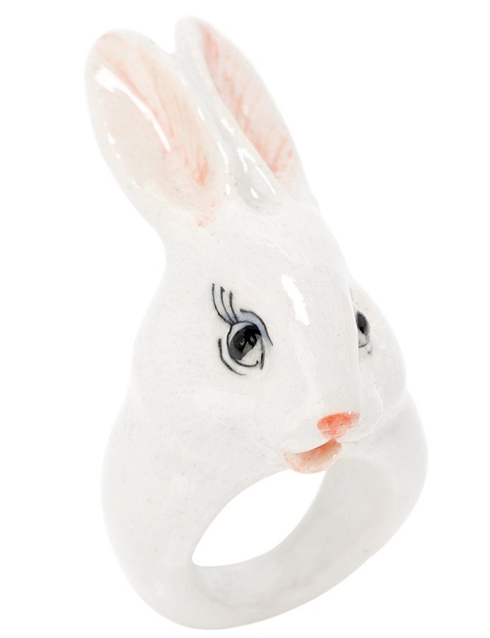 White Rabbit Porcelain Ring