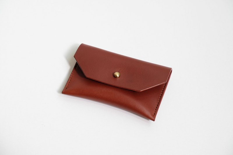 Italian chestnut brown vegetable tanned leather business card holder