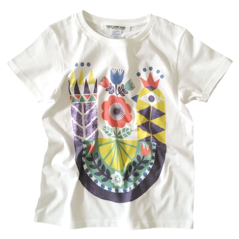 Geometric bird illustration Print T-shirt- White x Yellow - women's/men's/unisex