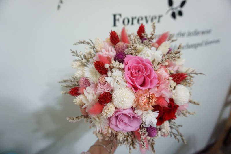 Happy wedding - not withered mixed dry bouquet of ping pong chrysanthemum red pink*exchange gift*Valentine's Day*wedding*birthday gift