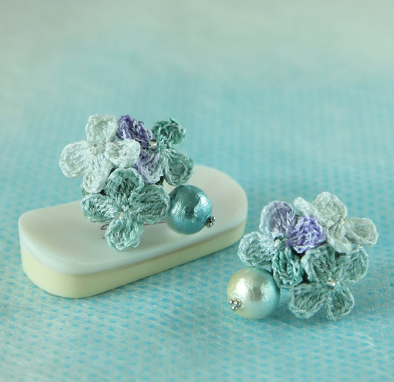 Forget-me-not Rain Flower Earring  Hand-Crocheted SV925 Pierce/ EarClip OK