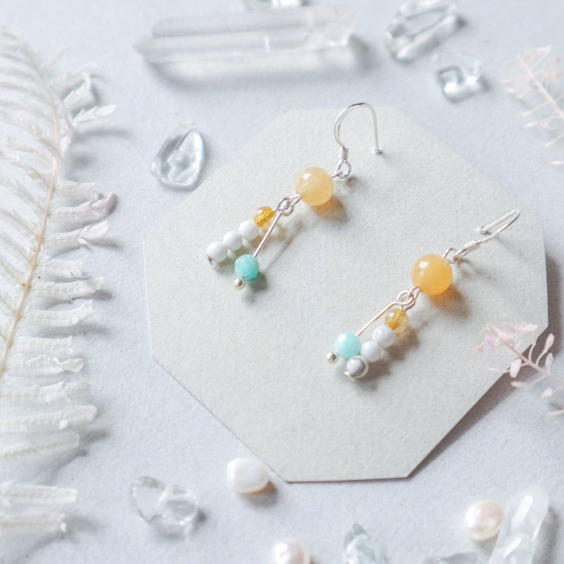 925 Silver Natural Stone Geometry Earrings - Whisper
