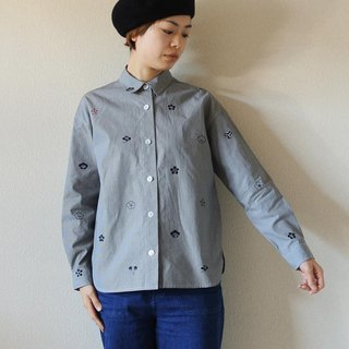 Gingham check shirt <plum family crest>