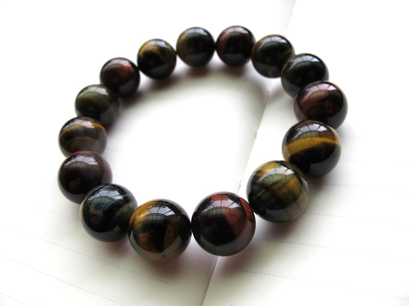 [Bright] 14.5mm tricolor tiger eye - hand-created natural stone series