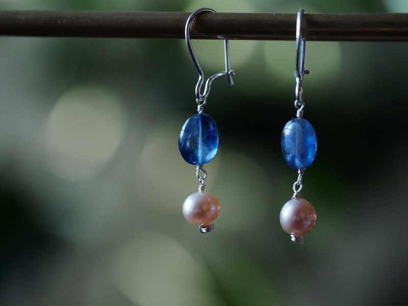 Kyanite Pearl Sterling Silver Earrings Kyanite Freshwater Pearls