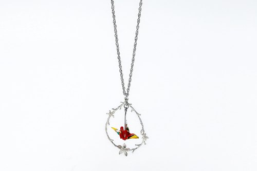 Mini cranes chain necklace (flowers and shadows) - Christmas gifts