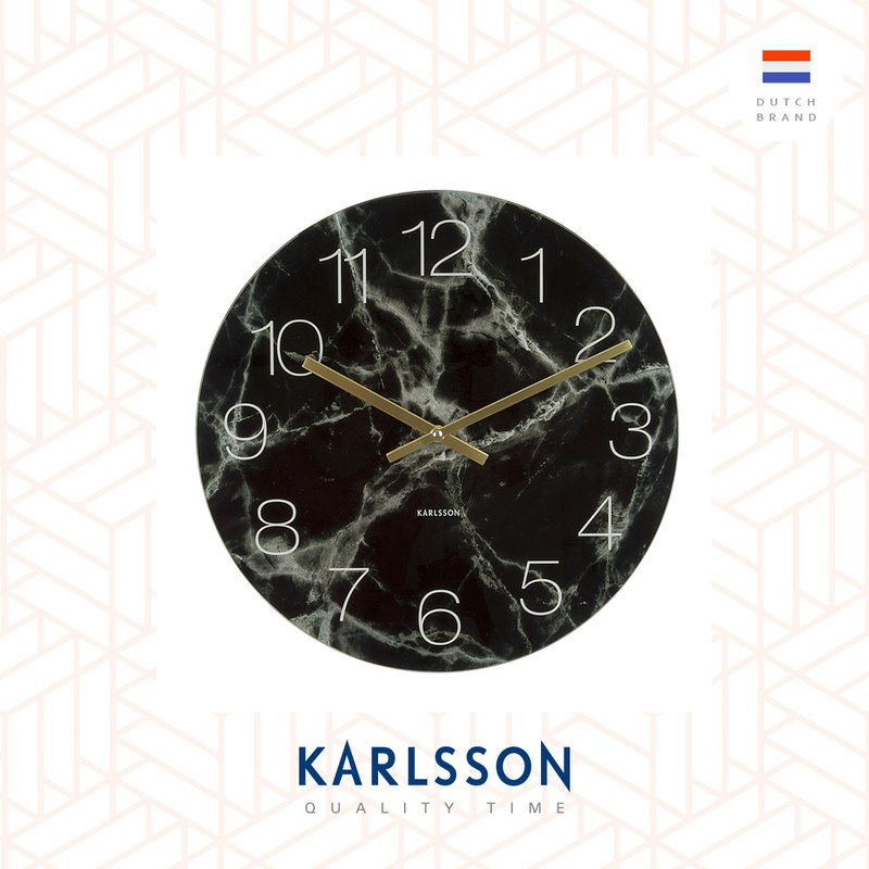 Karlsson, Wall clock Glass Marble black