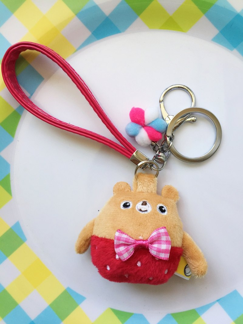 Red Berry Fruit Bear Key Ring Strap