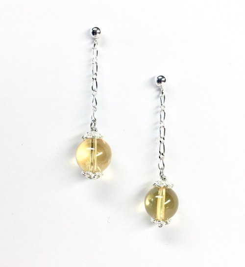 citrine earrings, sterling silver, gemstone, november birthstone, gift, japan, yellow