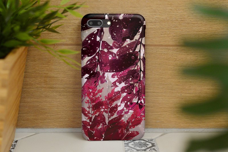 39-4 natural pink leafs iphone case for iphone 6,7,8, iphone xs, iphone xs max