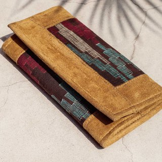 Long Leather Long Wallet Coin Purse Woven Wallet - Moroccan Geometric Totem Suede Genuine Leather Wallet