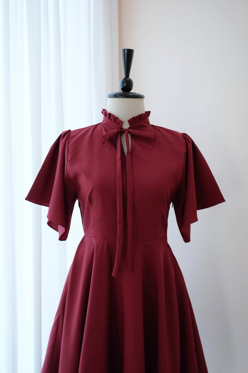 Red Burgundy bridesmaid dress vintage cocktail wedding prom dress