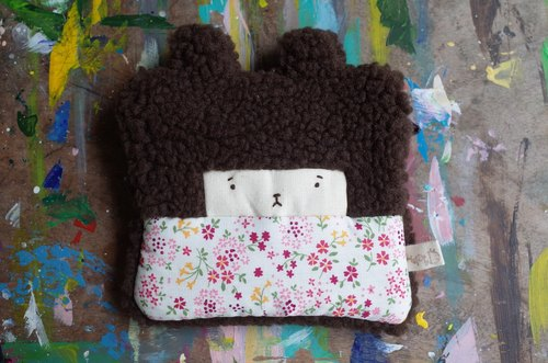 Duo baby rabbit coin purse - cocoa hair -147 colorful flowers