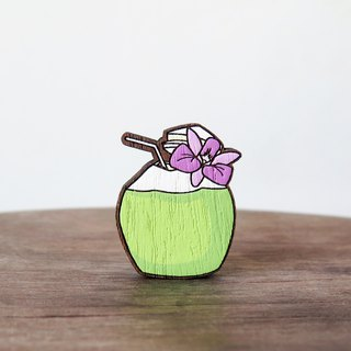 Wooden Brooch Thai Food ~ Coconut Juice