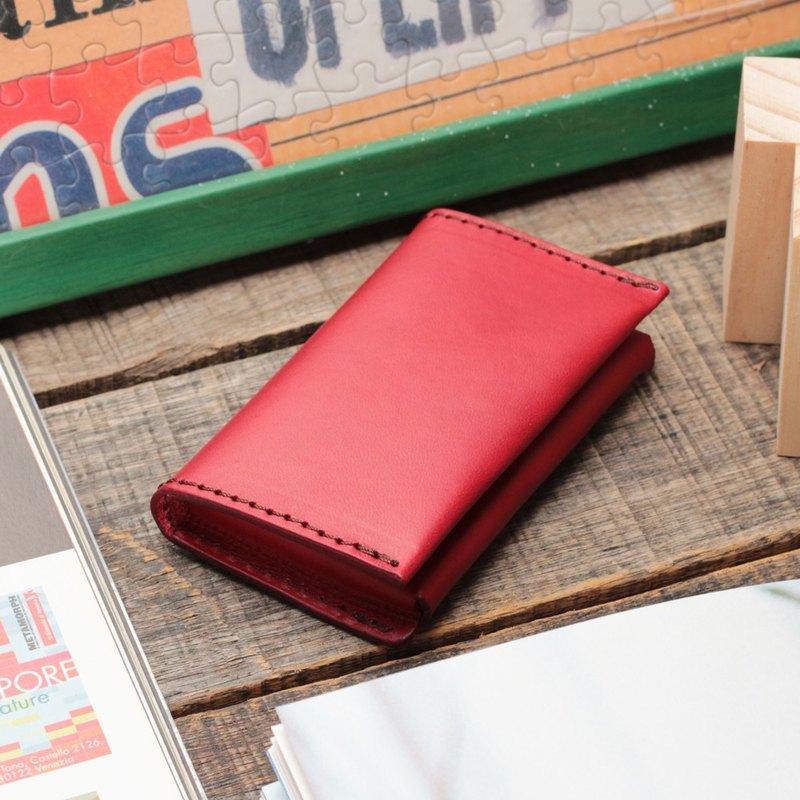 Retro poppy red dip dyed yak leather handmade business card holder